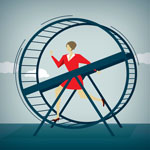 person on a hamster wheel